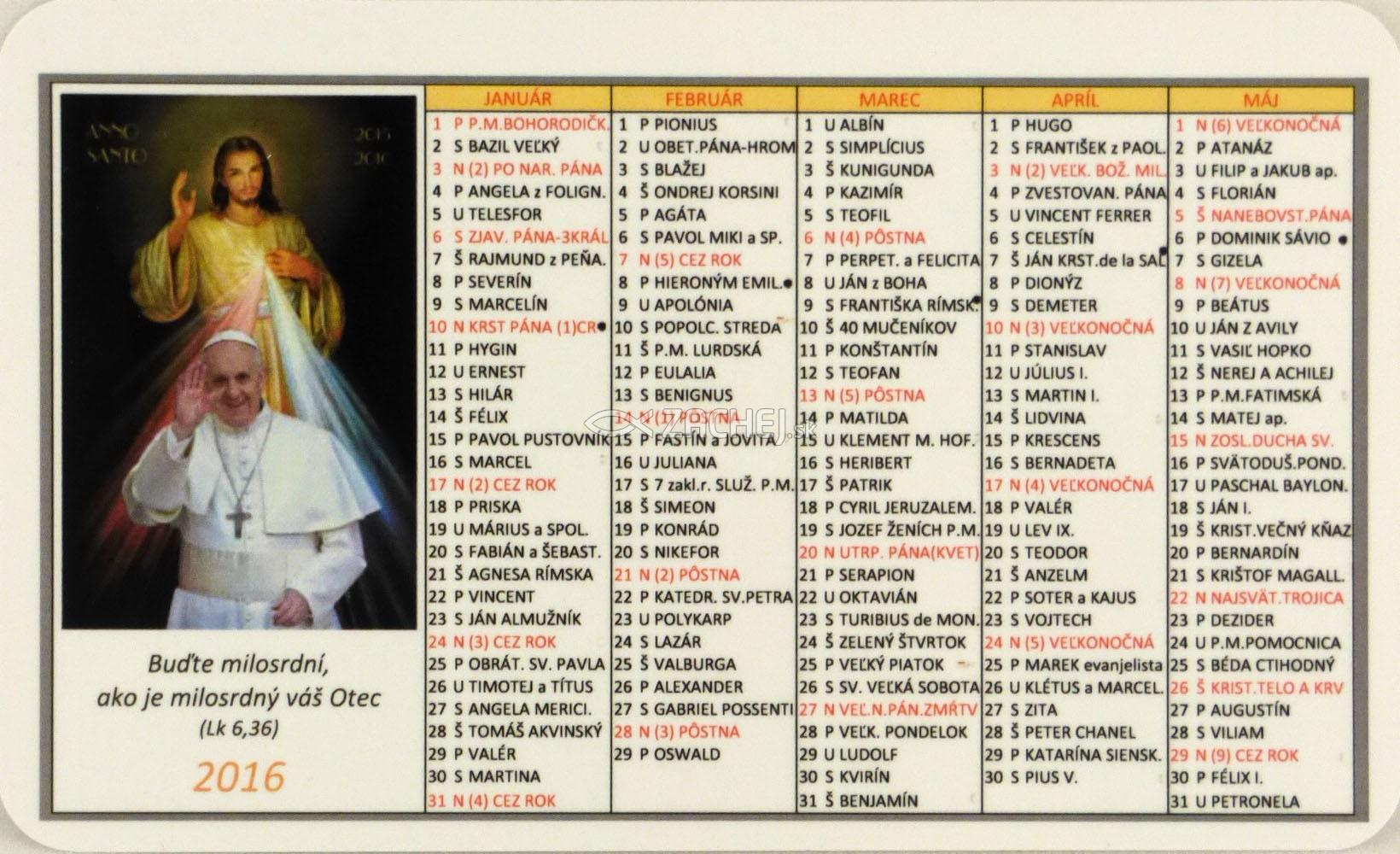 Kalendár  vreckový 2016: Svätý rok milosrdenstva