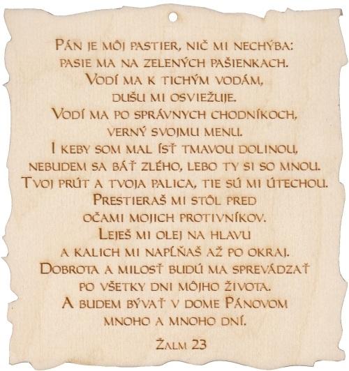 Citát na dreve: Pán je môj pastier...