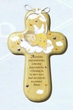 Kríž: s modlitbou, drevený (CM-4)