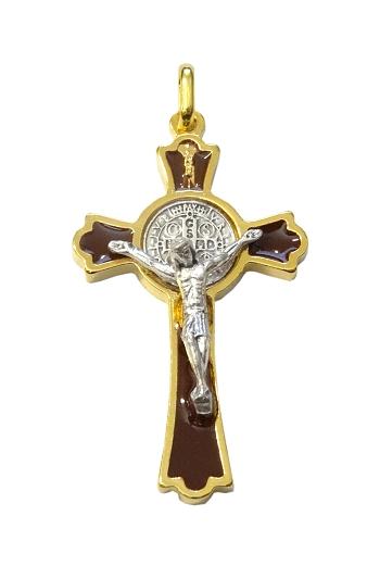 Prívesok: Benediktínsky krížik - hnedý (K0235zl.) - zlatá farba