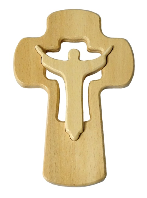 Drevorezba: Kríž s korpusom - bledý (KDZ014)