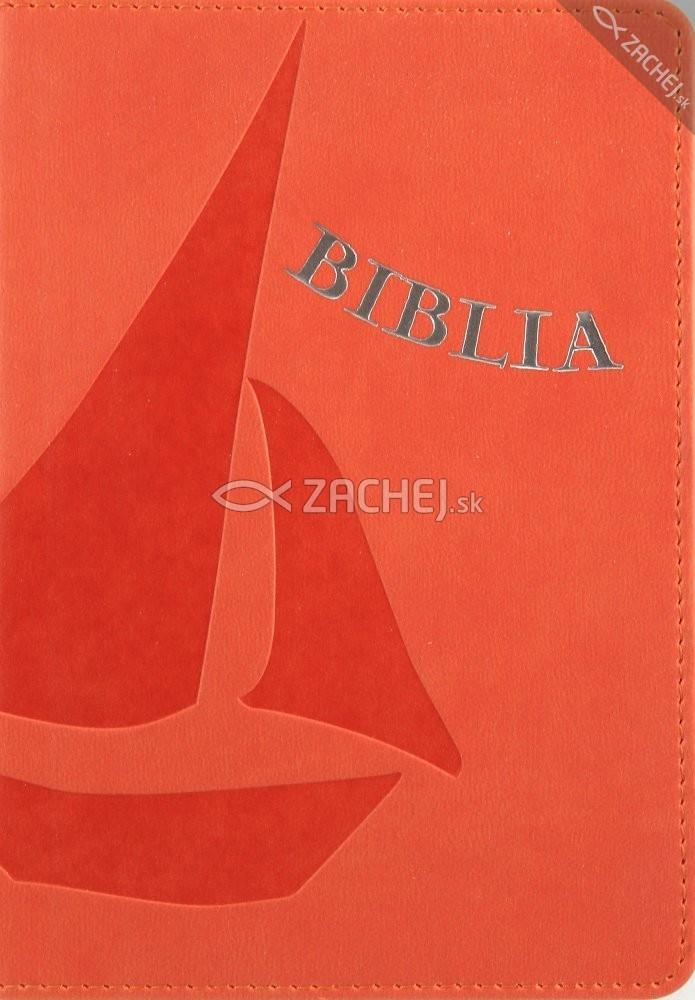 Biblia - oranžová - koženka