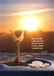 Upomínka na 1 sv. přijímání - kalich, miska, východ slunce