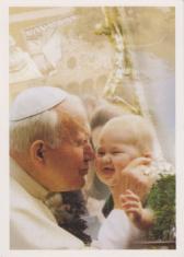 Pohľadnica: Sv. Otec Ján Pavol II. s dieťaťom - bez textu