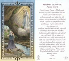 Obrázok: Lurdská Panna Mária - s modlitbou, pozlátený, papierový