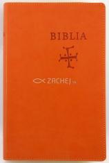 Biblia s biblickými mapami (oranžová) - stredne veľký formát, katolícky preklad, koženka