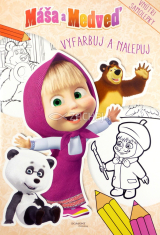Máša a Medveď: Vyfarbuj a nalepuj