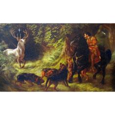 Obraz na dreve: Sv. Hubert - patrón poľovníkov (25x40)