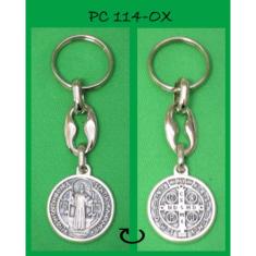 Kľúčenka: sv. Benedikt, kovová (PC114-OX) - obojstranná