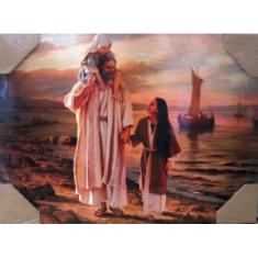 Obraz na dreve: Pán Ježiš s deťmi pri mori (40x30)