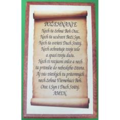 Obraz na dreve: Požehnanie - pergament (27,5x16,5)