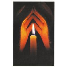 Pohľadnica: vianočná - ruky + sviečka (SF)