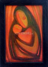 Obraz v ráme: Malý Ježiško s jeho Matka - jedno srdce (15x10) - so stojančekom