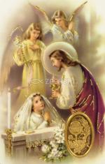 Kartička: sv. prijímanie - dievča (RCC 72 SK) - Modlitba pred a po sv. prijímaní, laminovaný