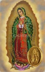 Kartička: Panna Mária Guadalupská (RCC) - s modlitbou, plastová