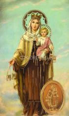 Kartička: Škapuliarska Panna Mária (RCC) - s modlitbou, plastová