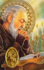 Kartička: páter Pio (RCC) - s modlitbou, plastová