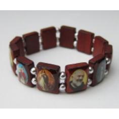 Náramok: 12 svätých, drevený - bordový