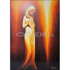 Obraz na dreve: Zvestovanie - oranž. (40x30)