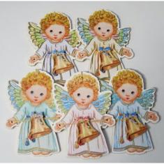 Anjel drevený so zvončekom kučeravý