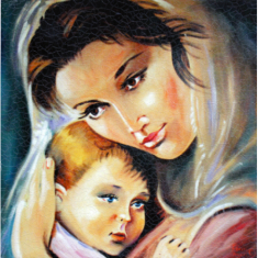 Obraz na dreve: Panna Mária a dieťa (15x15)
