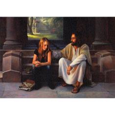 Obraz na dreve: Pán Ježiš a tínedžerka (40x30)