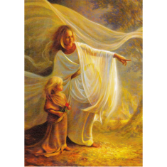 Obraz na dreve: Anjel a dieťa (40x30)