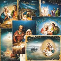 Pohľadnica vianočná flitrovaná s textom (Via)