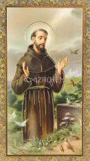 Obrázok: sv. František z Assisi (ISK 034) - s modlitbou, pozlátený, papierový