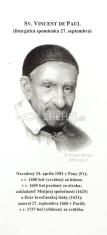 Záložka: Sv. Vincent de Paul + litánie