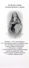 Záložka: Sv. Klára z Assisi + litánie