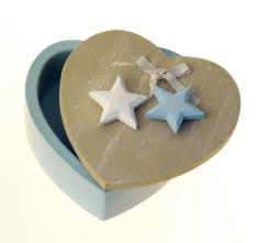 Šperkovnička: srdiečko - modré  (33305) - drevená