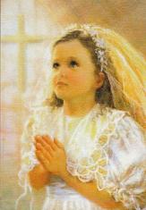 Obraz na dreve: Modliace sa dievča (15x10)