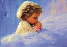 Obraz na dreve: Modliace sa dieťa (30x20)