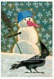 Přání - Sněhulák a vrána