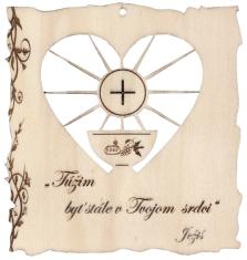 Citát na dreve: Túžim byť stále v Tvojom srdci