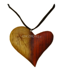 Prívesok: drevené srdce - Padouk pol