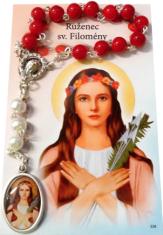Ruženec: Sv. Filomény, s modlitbou (sada) - obrázok s korunkou k sv. Filoméne