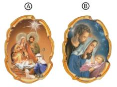 Magnetka: Svätá rodina - vianočná, drevená (MZ008) - okrúhla
