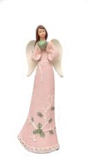 Anjel: so srdcom, ružový - 24,5 cm (201009)