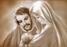 Obraz na dreve: Svätá rodina - akvarel (40x30)