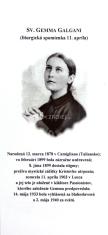 Záložka: Sv. Gemma Galgani + litánie