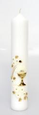 Sviečka 400g zdobená - Kalich zlatý + kvety