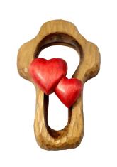 Drevorezba: Kríž + 2 srdcia (PM009)
