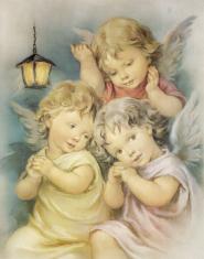 Plagát: Anjel (SF004) - Traja anjelici s lampášikom