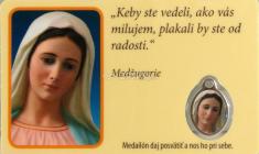 Kartička: Medžugorie, s medailou (RCM) - s modlitbou, laminovaná