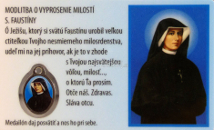 Kartička: Svätá Faustína, s medailónom (RCM) - Ruženec Božieho milosrdenstva, laminovaná