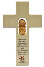 Kríž: drevený s hlineným anjelikom (N401/SK)