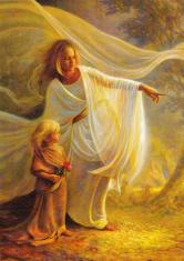 Obraz na dreve: Anjel a dieťa (15x10)
