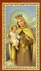 Obrázok: Panna Mária Karmelská (ISK024) - s modlitbou, pozlátený, papierový